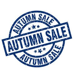 Autumn sale blue round grunge stamp vector