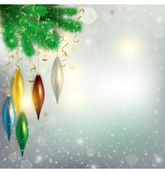 Twigs of the tree with hanging colorful toys and vector