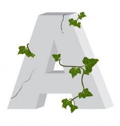 3d a letter with ivy vector image vector image