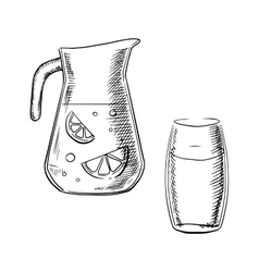 Jug and glass with fresh lemonade vector