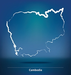 Doodle map of cambodia vector