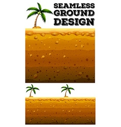 Seamless ground design with coconut tree vector image