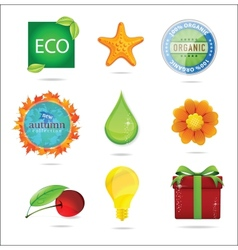 glass magic eco nature symbols set vector image