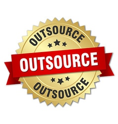 Outsource 3d gold badge with red ribbon vector