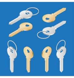 ollection of different house keys isolated on vector image