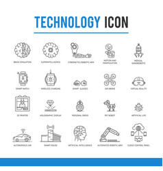 artificial intelligence technology icon pack vector image