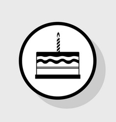 Birthday cake sign flat black icon in vector