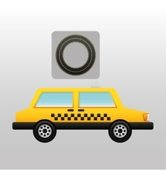 Cab side circle road way design vector