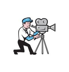 Cameraman vintage film movie camera side cartoon vector