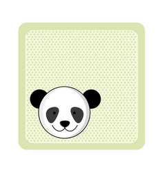 Colorful greeting card with picture panda animal vector