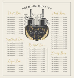 Craft beer menu with price list and brewery vector