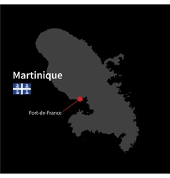 Detailed map of martinique and capital city fort vector