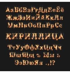 Fire burning cyrillic russian alphabet vector