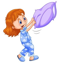 Girl in blue pajamas with purple pillow vector