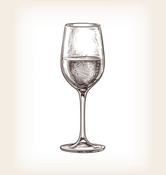 Hand drawn of wineglass vector