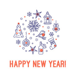 Happy new year christmas concept in circle vector