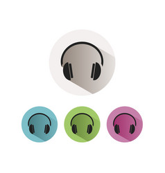 Headphones icon on colored buttons and white vector