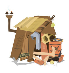 Hut of the beggar isolated vector
