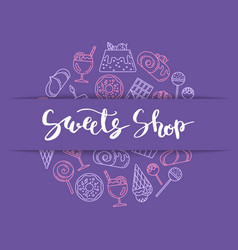 linear style sweets icons vector image vector image