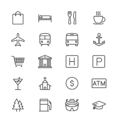 Map and location thin icons vector image