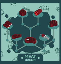 meat color isometric concept icons vector image