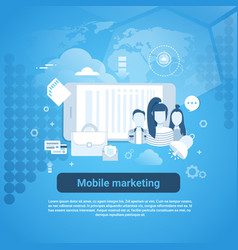mobile marketing concept business web banner with vector image vector image
