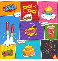 Party comic page design vector