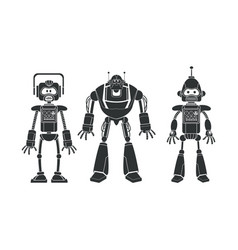 Robots collection machine pictogram vector