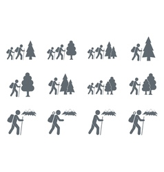 Set of 12 backpacker icons vector