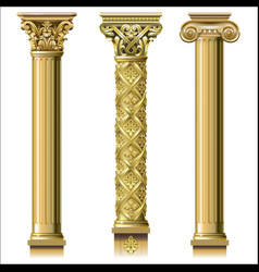 set of classic gold columns vector image vector image