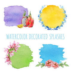 set of watercolor splashes with decor vector image vector image