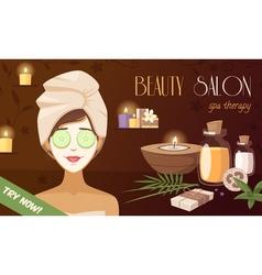 Spa beauty salon cartoon template vector
