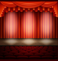 Spotlight on stage and red curtain eps 10 vector