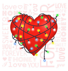 Valentine gift card with heart and lanterns vector