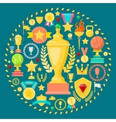 Awards and trophy icons with cup medal prize vector