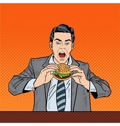 Pop Art Business Man Eating Tasty Burger at Work vector image