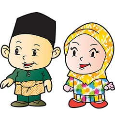 Melayu children in patani cartoon vector