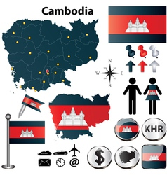 Map of cambodia vector
