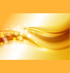 Smooth light gold waves lines and lens flares vector