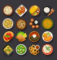 Dishes icon set-4 vector
