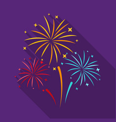 Colorful fireworks icon in flat style isolated on vector