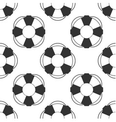 Lifebuoy icon seamless pattern on white background vector