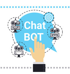 Man use free chat bot robot virtual assistance vector
