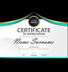Curve elegance horizontal certificate template vector