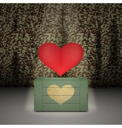 Heart on military background vector image