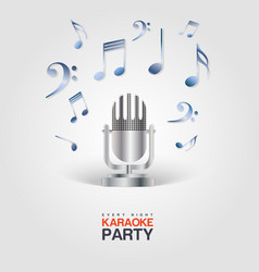 Karaoke party poster with microphone and musical vector