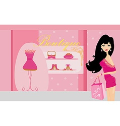Fashion girl on shopping vector