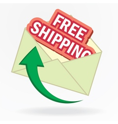 Free shipping sign in envelope vector