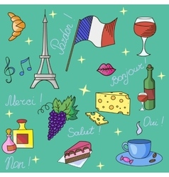 French symbols pattern vector