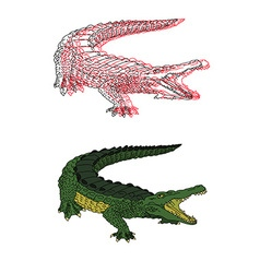 Hand drawn crocodile set vector